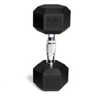 CAP Barbell Rubber Coated Hex Dumbbell, 25 lbs