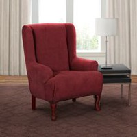 Sure Fit Montgomery Stretch Wing Chair Slipcover Merlot
