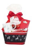 Celebration Metal Reindeer Container with Mug