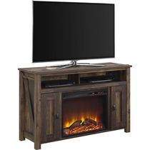 Dorel Farmington TV Console Fireplace Brown