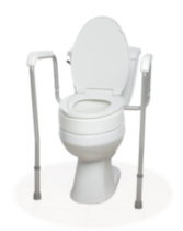 1med Toilet Seat Adapter with 1med Splash Guard (Elongated Shape), 1med Adaptable Toilet Safety Frame and 1med Adjustable Bath Seat with Back