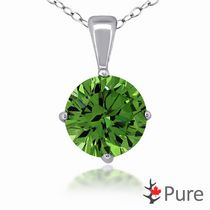 "Pure 2.00 Carat 8mm Emerald CZ Round 4-Claw Pendant, in Sterling Silver with 18"" Chain"