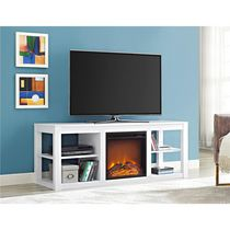 Dorel Parsons TV Console Electric Fireplace White
