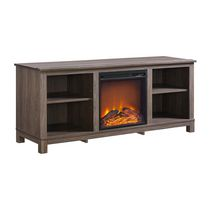 Dorel Edgewood TV Console Electric Fireplace Brown