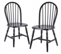 Winsome Black Composite Wood Windsor Chairs with Curved Legs