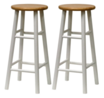 Beveled seat stool White