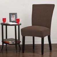 SureFit Dimples Stretch Parson Chair Slipcover Chocolate