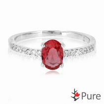 Pure 3/4 Carat T.G.W. 5x7mm Oval CZ Garnet Ring with Round Accents set in Sterling Silver 7