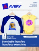 Avery® Stretchable Fabric Transfers for Inkjet Printers 5's