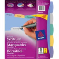 "Avery® Translucent Durable Write On Reference Dividers, 16170, 8-1/2"" x 11"", 5 Tab Set"