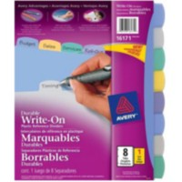 Avery® Translucent Durable Write-On Plastic Dividers, 8-Tab Set