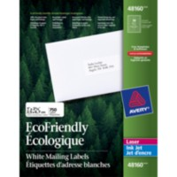 "Avery® White EcoFriendly Mailing Labels 48160, 1"" x 2-5/8"", Box of 750"