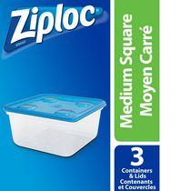 Ziploc Food Storage Containers Medium Square, Pack of 3