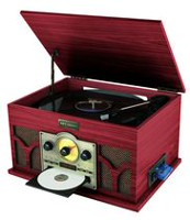 Art & Sound Wood Grain Bluetooth 6-in-1 Music Player Turntable