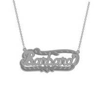 "Sterling Silver Personalized ""Barbara"" Double Nameplate"