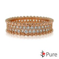 Pure Cubic Zirconia Eternity Ring set in Sterling Silver Rose Colour 7