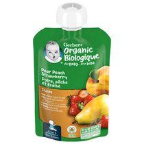 Purée GERBER® Biologique Poire Pêche Fraise, aliment pour bébé, 128 ml