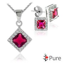 "Pure CZ Garnet Square Pendant and Earring Set, in Sterling Silver with 18"" Chain"
