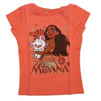 Moana Girls' Short Sleeve Printed T-Shirt XS