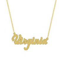 Women's Sterling Silver Gold Plated Name Plate with Chain - Virginia