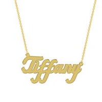 Women's Sterling Silver Gold Plated Name Plate with Chain - Tiffany