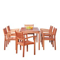 Malibu Outdoor Patio 7-piece Wood Dining Set with Stacking Chairs