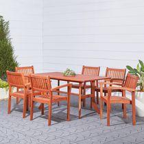 Malibu Ensemble de table à dîner de plein air en bois 7 pièces avec chaises pliantes