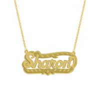 "Gold Over Sterling Silver Personalized ""Sharon"" Double Nameplate"