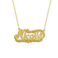 "Gold Over Sterling Silver Personalized ""Nicole"" Double Nameplate"