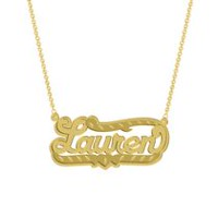 "Gold Over Sterling Silver Personalized ""Lauren"" Double Nameplate"
