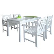 Malibu Outdoor Patio 5-piece Wood Dining Set with Curvy Leg Table