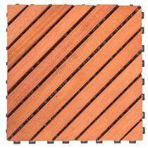 Outdoor Patio 12-Diagonal Slat Interlocking Deck Tile