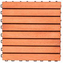 Outdoor Patio 8-Slat Eucalyptus Interlocking Deck Tile