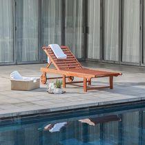 Malibu Outdoor Wood Folding Sunbathing Chaise Lounge