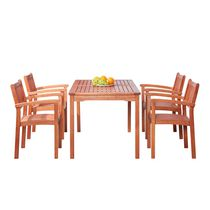Malibu Outdoor Patio 5-piece Wood Dining Set with Stacking Chairs