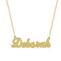 Women's Sterling Silver Gold Plated Name Plate with Chain - Deborah