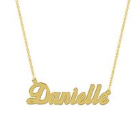 Women's Sterling Silver Gold Plated Name Plate with Chain - Danielle
