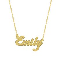 Women's Sterling Silver Gold Plated Name Plate with Chain - Emily