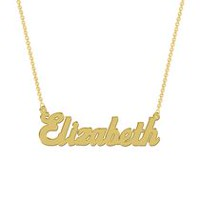 Women's Sterling Silver Gold Plated Name Plate with Chain - Elizabeth