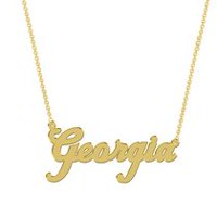 Women's Sterling Silver Gold Plated Name Plate with Chain - Georgia