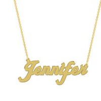 Women's Sterling Silver Gold Plated Name Plate with Chain - Jennifer