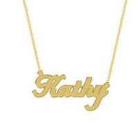Women's Sterling Silver Gold Plated Name Plate with Chain - Kathy