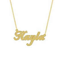 Women's Sterling Silver Gold Plated Name Plate with Chain - Kayla