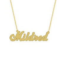 Women's Sterling Silver Gold Plated Name Plate with Chain - Mildred