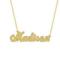 Women's Sterling Silver Gold Plated Name Plate with Chain - Madison