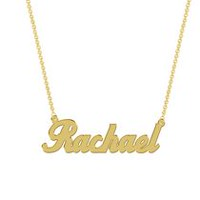 Women's Sterling Silver Gold Plated Name Plate with Chain - Rachael