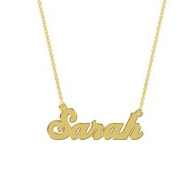 Women's Sterling Silver Gold Plated Name Plate with Chain - Sarah