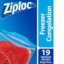 Ziploc Freezer Bags Medium, 19 Bags