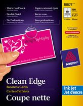 Avery® Two-Side Printable Clean Edge™ Business Cards for Inkjet Printers 18871, White, Matte, Pack of 100