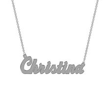 Women's Sterling Silver Name Plate with Chain - Christina
